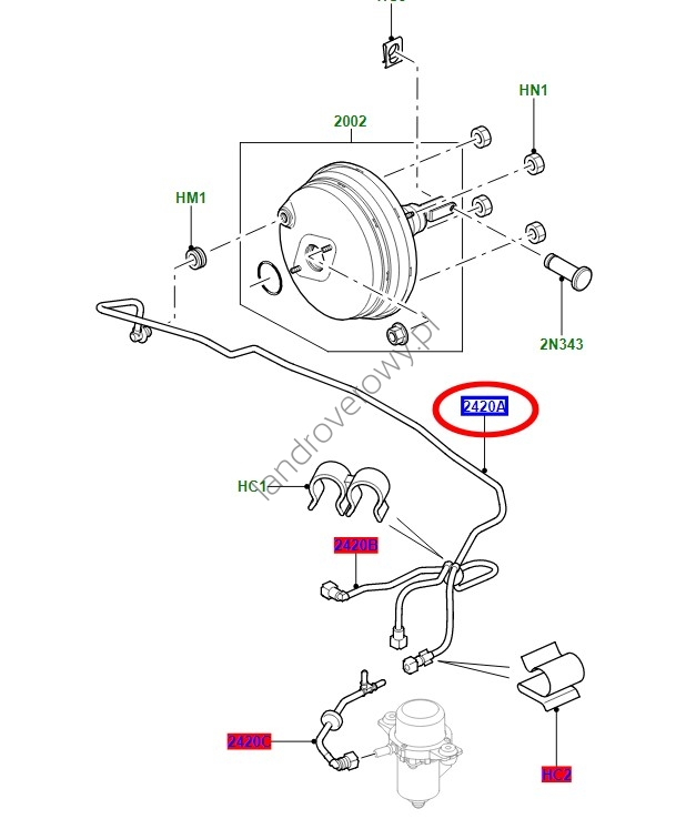 Przewód wąż podciśnienia serwo hamulca RANGE ROVER SPORT 3