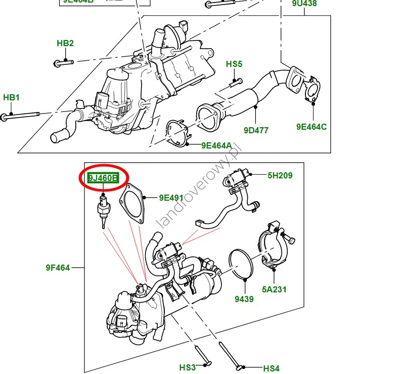Czujnik temperatury spalin (w chłodnicy EGR) 3,0 V6 diesel